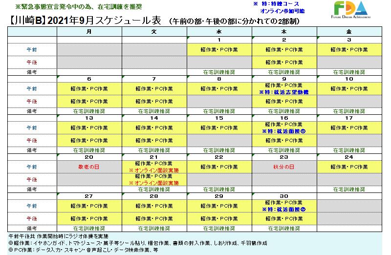 川崎B型5月スケジュール